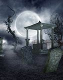 Gothic graveyard 2. Night scenery with gothic tombstones and withered trees Stock Image