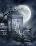 Gothic graveyard 5. Night scenery with a cemetery mausoleum Stock Images
