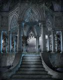 Gothic graveyard 6. Gothic chapel with stairs and vines vector illustration