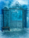 Gothic Graveyard. Gothic cemetery gate with bench and moonlight royalty free illustration