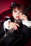 Gothic Guitar Queen Stock Images