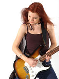 Gothic Guitarist 4. Beautiful Gothic redhead jamming on an electric guitar. Isolated over white stock images