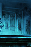 Gothic Hall. A gothic hallway with ledges and flowering bushes along the walls Royalty Free Stock Image