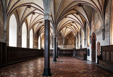 Gothic hall of the castle in Malbork. Royalty Free Stock Photos