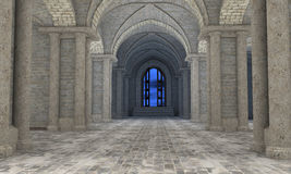Gothic hall interior. 3d render of gothic hall interior with an open door at the end Stock Photo