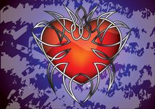 Gothic heart against the grungy background Royalty Free Stock Photos