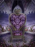 Gothic heart chair. With pink roses Royalty Free Stock Photography