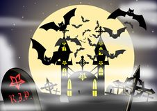 Gothic home. Illustration representing a gothic home with the full moon behind it and many bats that fly around it. An idea for halloween stock illustration