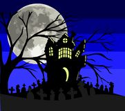Gothic home in a cemetery at night Stock Photography