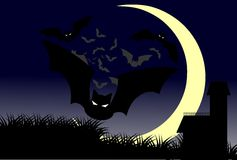 Gothic home at night with moon and bats Royalty Free Stock Photo