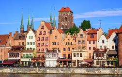 Gothic houses and cathedral in old town of Gdansk, Poland Royalty Free Stock Images