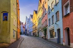 Gothic houses in the Old Town of Landsberg am Lech, Germany. Traditional colorful gothic houses on a narrow street in the Old Town of Landsberg am Lech near stock image