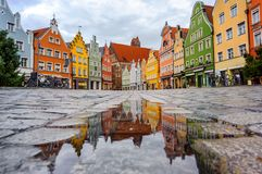 Gothic houses in the Old Town of Landshut, Bavaria, Germany. Traditional colorful gothic houses in the Old Town of Landshut, historical town in Bavaria by Munich royalty free stock photos