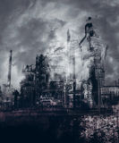 Gothic Industrial City. Gothic Industrial creepy city background Stock Image