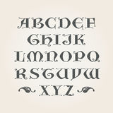 Gothic initials. Decorative Alphabet. Capital latin A-Z letters in vector Royalty Free Stock Photography