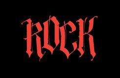 Gothic, inscription Rock. Vector. Font for tattoo. The word is isolated on a black background. Calligraphy and lettering. Red vector illustration
