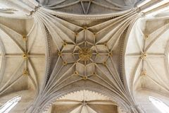 Gothic interior of Huesca cathedral. HUESCA / SPAIN - SEPTEMBER 2014: Gothic interior of Huesca cathedral, Spain Royalty Free Stock Photo