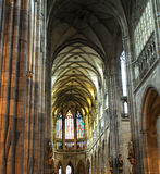 Gothic interior temple. Cathedral altar Stock Image