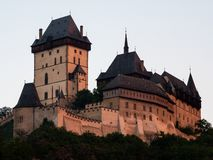 Gothic Karlstejn Castle at Sunset in Bohemia Czech Republic. A Medieval Fortress buildt by Charles IV ind Central Europe stock photography