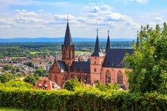 The gothic Katharinenkirche in Oppenheim in Rheinhessen.  stock image