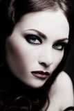 Gothic lady. Black and white colored portrait of beautiful sulky woman, selective focus Royalty Free Stock Photo