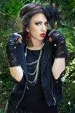Gothic lady. Beautiful girl in a gothic inspired outfit stock photography