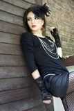 Romantic gothic fashion. Beautiful girl in a gothic inspired outfit royalty free stock image