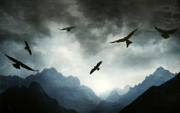 Gothic landscape of mountain range with hawks in backlight Royalty Free Stock Photo