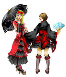 Gothic lolita girls. Illustration of girls in japanese gothic lolita fashion Stock Images