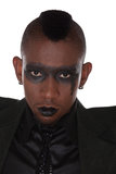 Gothic look african. Gothic look of an young rock singer, african american man, with an mohican haircut, Botswana Stock Photo