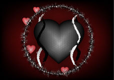 Gothic Love background. Black flowers and red hearts Royalty Free Stock Photo