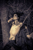 Gothic man. Man-tree in a wild wood. Art project. Fantasy. Halloween Royalty Free Stock Photos