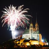 Gothic medieval cathedral with fireworks Royalty Free Stock Images