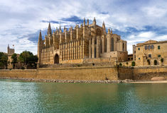 The gothic medieval cathedral. La Seu, the gothic medieval cathedral of Palma de Mallorca, Spain Stock Image