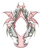isolated Gothic metal mirror decorated Stock Photos