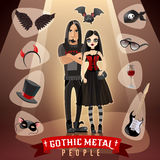 Gothic Metal People Subculture Illustration Stock Photo