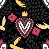 Gothic Mexican Sacred Heart Pattern. A gothic Mexican sacred heart pattern with crosses, birds and red flowers Stock Photo