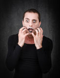 Gothic mime desperation. Person emotions and expressions portrait Stock Photography