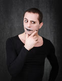 Gothic mime thinking Royalty Free Stock Photo