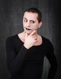 Gothic mime thinking Royalty Free Stock Photo