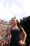 Gothic model on the catwalk stock photos