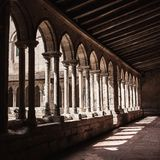 Gothic monastery courtyard Royalty Free Stock Photo
