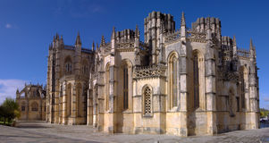 Gothic Monastery panorama. Lateral panoramic view of Batalha Monastery showing the unfisnished chapels, Portugal Stock Images