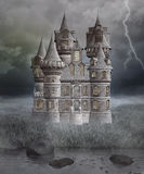 Gothic mysterious castle. Gothic castle in a stormy scenery Stock Image