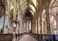Gothic nave of the church of Wissembourg Royalty Free Stock Photo