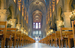 Gothic Nave of Notre Dame Stock Image