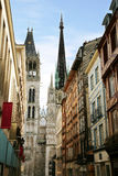Gothic Notre Dame Cathedral Rouen - France. Narrow street in Rouen in France with view for Gothic Notre Dame Cathedral stock photos