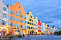 Gothic old town of Scharding, Upper Austria. Colorful traditional houses in gothic old town Scharding, Upper Austria, in the evening Royalty Free Stock Photos