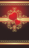 Gothic ornament with hearts on the gold ribbon Stock Photos