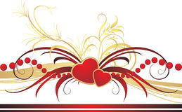 Gothic ornament with hearts. Romantic composition Royalty Free Stock Photography